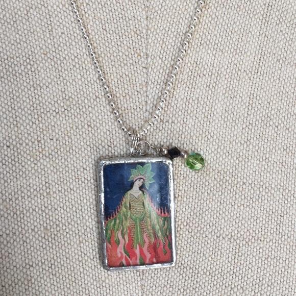 0d521215f64b3 Sterling Necklace w/Mexican Folk Art Pendant